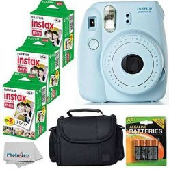 Fujifilm Instax Mini 8 Film Camera (Blue) With Fujifilm Instax Mini 6 Pack Instant Film (60 Shots) + Compact Bag Case + Batteries Top Kit - International Version (Certified Refurbished