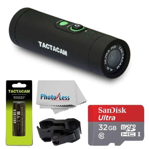 TACTACAM 4.0 With Flat Black Stabilizer + TACTACAM Rechargeable Battery + Ultra 32GB microSDHC UHS-I Card with Adapter + Custom Gun Mount/Scope Mount + Cleaning Cloth – Full Accessory Bundle