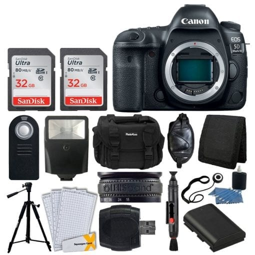 Canon EOS 5D Mark IV DSLR Camera Body + 64GB Memory Card + Extra Battery + Wireless Remote + Large Gadget Bag + Slave Flash + Heavy Duty Tripod + Hand Grip + Lens Band + Card Reader + Bundle