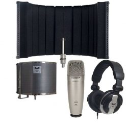 CAD Audio AS32 Acousti-Shield 32 Stand Mounted Acoustic Enclosure Bundle + Samson C01U Pro USB Studio Condenser Microphone + CAD Audio MH110 Closed Back Studio Headphones