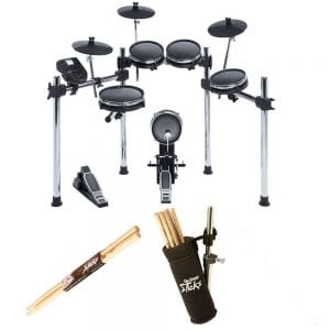 Exclusive Bundle! Alesis SURGE MESH KIT Eight-Piece Electronic Drum Kit with Mesh Heads + On Stage Clamp-On Drum Stick Holder DA100 + On Stage Maple Wood 5B (1 Pair) Of Drumsticks