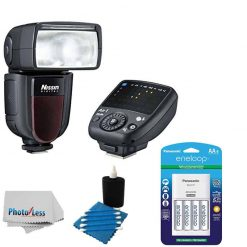 Nissin Di700A Flash Kit with Air 1 Commander for Sony Cameras + Panasonic eneloop AA Batteries & Charger + 3 Piece Cleaning Kit