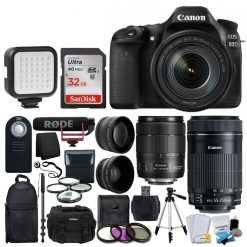 Canon EOS 80D DSLR Camera with 18-135mm Lens Video Creator Kit + EF-S 55-250mm IS STM Lens + 72mm 2x & Wide Angle Lens + 32GB Card + Video Monopod + LED Video Light + Accessory Backpack