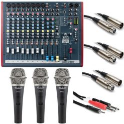 Allen & Heath ZED60-14FX Live and Studio Mixer with Digital FX and USB Port + 3 Dynamic Handheld Microphones + 3 XLR Cables - 5' + Insert Breakout Y-Cable