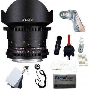 "Rokinon DS 14mm T3.1 Full Frame Cine Lens for Canon EF +UV,Polarizer ,FLD 3 piece Kit + Giottos Large Cleaning Kit with Small Rocket Blaster + White Balance Card Set 2 x 3, Lens Cap, Op/Tech Rainsleeve-Flash 14"" & Cleaning Cloth"