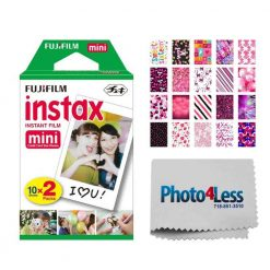 Fujifilm instax mini Instant Film (20 Exposures) + 20 Sticker Frames for Fuji Instax Prints Sweet 16 Package + Photo4Less Cleaning Cloth – Deluxe Accessory Bundle
