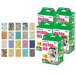 Fujifilm instax mini Instant Film (100 Exposures) + 20 Sticker Frames for Fuji Instax Prints Travel Package