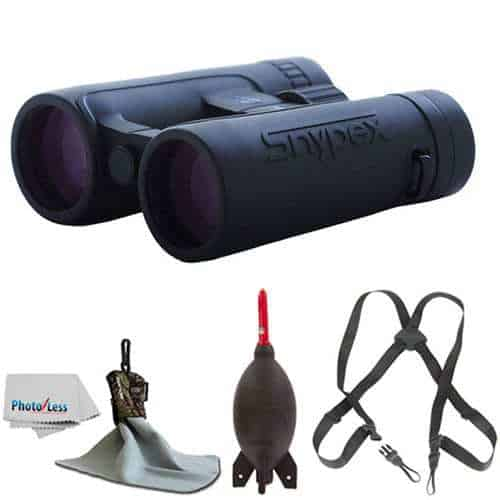 SNYPEX 10x42 Knight ED Water Proof Roof Prism Binocular With Case + Harness + Rocket Air Dust Blaster + Microfiber Spudz Cloth & Cleaning Cloth