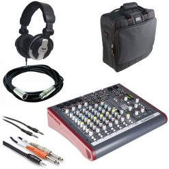 Allen & Heath ZED-10FX Multi-Purpose Miniature Mixer + Gator Cases G-MIXERBAG + Headphone + XLR Mic Cable + Instrument Cable & Stereo Cable