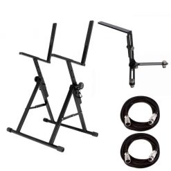 On Stage RS7000 Stage Monitor or Guitar Amp Stand + On-Stage MY650 Dual Microphone Bar for Amp + 2x On Stage Mic Cable, 20 ft. XLR Bulk – Great Value Bundle!