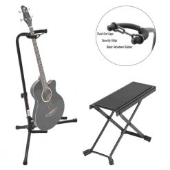 On Stage Black Tripod Guitar Single Stand + On Stage Guitar Foot Rest - Deluxe Guitar Bundle