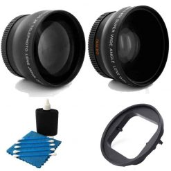 52MM 2X Professional Telephoto Lens With High Definition 52MM Wide Angle Lens + Adapter 52mm For GoPro Hero 3+ Hero4 Black Silver White Camcorder
