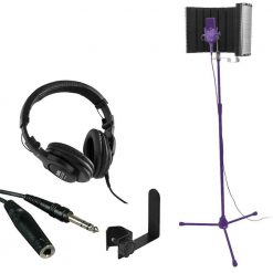On Stage Stands WH4500 Pro Studio Headphones + On Stage Stands Isolation Shield MS4730 + TRS Headphone Extension Cable + On Stage Clamp-On Accessories Holder - Ultimate Accessory Bundle