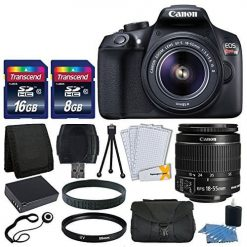 Canon EOS Rebel T6 Digital SLR Camera + Canon 18-55mm EF-S Lens + Transcend 24GB SDHC Card + 58mm UV Filter + Extra Battery + USB Card Reader + Vivitar Gadget Bag + Lens Band + Complete Valued Kit