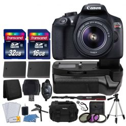 Canon EOS Rebel T6 Digital SLR Camera + Canon 18-55mm EF-S Lens + Transcend 48GB Card + Battery Grip + 58mm UV Filter Kit + Universal Gadget Bag + Extra Batteries + Quality Tripod + Ultimate Bundle