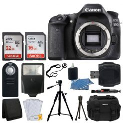 Canon EOS 80D DSLR Camera Body + 48GB SDHC Card + Slave Flash + Quality Tripod + DSLR Case + Card Reader + Wireless Remote + Cleaning Kit + Memory Card Wallet + Screen Protectors + Great Value Bundle