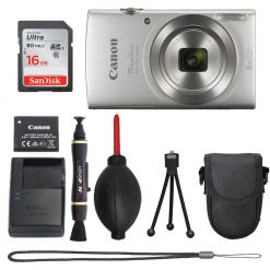 Canon PowerShot ELPH 180 (Silver) with 20.0 MP CCD Sensor and 8x Optical Zoom+Accessories