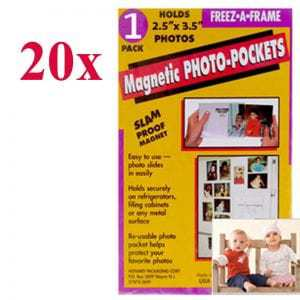 """Clear Magnetic Photo Frames For Refrigerator Wallet Size, 2.5"""" x 3.5"""" Pack of 20, , Freez-A-Frame"""