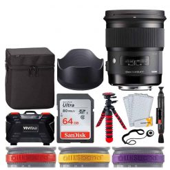 Sigma 50mm f/1.4 DG HSM Art Lens for Nikon F + 64GB Memory Card + 12 Flexible Tripod + Memory Card Hard Case 24 Slots + Lens Cleaning Pen + Top Lens Band Variety Bundle