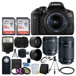 Canon EOS Rebel T6i DSLR Camera + EF-S 18-55mm IS STM Lens & EF-S 55-250mm IS STM Lens + Wide Angle & 58mm 2x Lens + Vivitar DC59 Gadget Bag + Wireless Remote + Slave Flash + Tripod + Deluxe Bundle