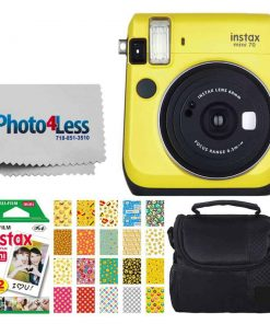 Fujifilm instax Mini 70 Instant Film Camera (Canary Yellow) + Fujifilm Instax Mini Twin Pack Instant Film + Small Digital Camera/Video Case + 20 Sticker Frames for Fuji Instax Prints Emoji Package