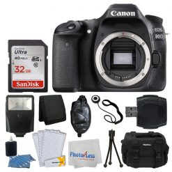 Canon EOS 80D DSLR Camera Body + 32GB Memory Card + Slave Flash + DSLR Camera Case + USB Card Reader + Tri-Fold Card Wallet + 3 Piece Cleaning kit + Hand Grip + Great Value Accessory Bundle