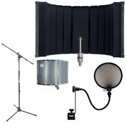 CAD AS22 Acousti-Shield 16-Guage Foldable Stand Mounted Acoustic Enclosure With Pop Filter and MSS7701B Euro Boom Microphone Stand