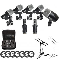 CAD Audio Stage7 Premium 7-Piece Drum Instrument Mic Pack with Vinyl Carrying Case + 7 On Stage Microphones Cables, 20 Feet