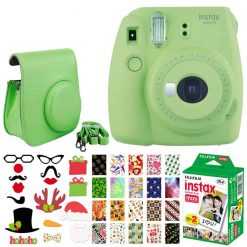 Fujifilm instax mini 9 Instant Film Camera (Lime Green) + Fujifilm Instax Mini Twin Pack Instant (20 Shots) + Case with Closure + Photo Booth Props + 20 Stickers Frames Holiday Package – Great Bundle