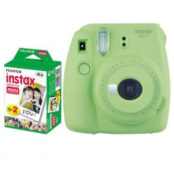 Fujifilm instax mini 9 Instant Film Camera (Lime Green) + Fujifilm Instax Mini Twin Pack Instant Film (20 Shots)– International Version (No Warranty)