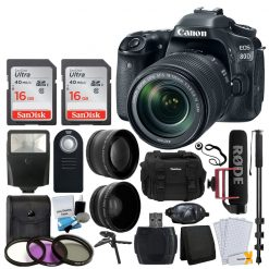 Canon EOS 80D DSLR Camera with 18-135mm Lens Video Creator Kit + Wide Angle & Telephoto Lens + 32GB Card + Wireless Remote + Video Monopod + SLR Gadget Bag + Slave Flash + Accessory Bundle
