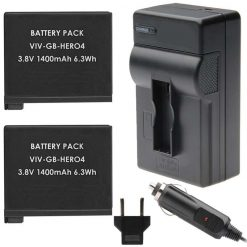2 Rechargeable Replacement Battery Pack and Charger for GoPro HERO4 Black Edition. Silver Edition HERO4 And GoPro AHDBT-401, AHBBP-401 3.7V 1600mAh