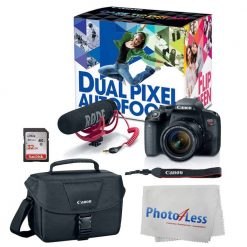 Canon EOS Rebel T7i Digital SLR Camera with 18-55mm Lens Video Creator Kit + 32GB Memory Card + Rode VideoMic + Canon EOS Shoulder Bag 100ES + Photo4Less Cleaning Cloth + Deluxe Video Bundle