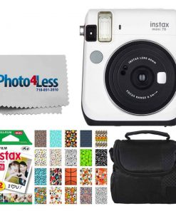 Fujifilm instax Mini 70 Instant Film Camera (Moon White) + Fujifilm Instax Mini Twin Pack Instant Film + Small Digital Camera/Video Case + 20 Sticker Frames Fuji Instax Prints Sports Package
