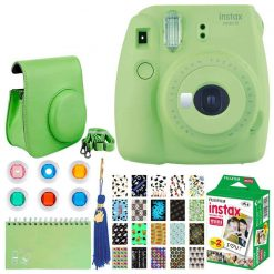 Fujifilm Instax Mini 9 Instant Camera (Lime Green) + Fujifilm Instax Mini Twin Pack Instant Film (20 Exposures) + Glitter Hard Case + Colored Filters + Album (White) + Sticker Frames Nature Package