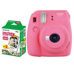 Fujifilm instax mini 9 Instant Film Camera (Flamingo Pink) + Fujifilm Instax Mini Twin Pack Instant Film (20 Shots) – International Version (No Warranty)