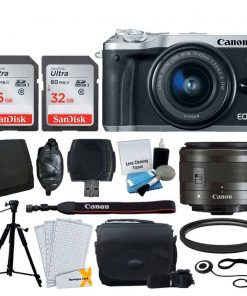 Canon EOS M6 Mirrorless Digital Camera (Silver) + EF-M 15-45mm f/3.5-6.3 IS STM Lens (Graphite) + 48GB Memory Card + Camera/Camcorder Bag + Quality Tripod + Card Reader + 49mm UV Filter + Accessories