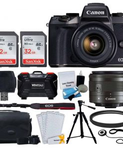 Canon EOS M5 Mirrorless Digital Camera + EF-M 15-45mm IS STM Lens (Graphite) + 64GB Memory Card + Deluxe Camera Bag + Quality Tripod + 49mm UV Filter + Card Reader + Hand Grip + Accessories