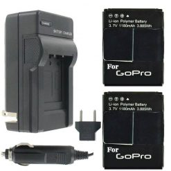 2 Rechargeable Replacement Battery Pack and Charger for GoPro HD HERO3+, HERO3 and GoPro AHDBT-201, AHDBT-301, AHDBT-302 3.7V 1600 mAh