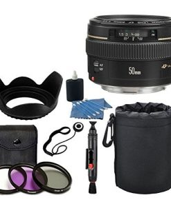 Canon EF 50mm f/1.4 USM Lens + Neoprene Soft Lens Pouch + 3 Piece UV Filter Kit 58mm + Tulip Lens Hood 58mm + 3 Piece Cleaning Kit + Cleaning Pen + Lens Cap Holder + Ultimate Lens Accessory Bundle