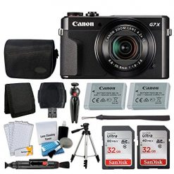 Canon PowerShot G7 X Mark II Digital Camera Video Creator Kit + SanDisk 32GB Card + Digital Camera Case + Quality Tripod + USB Card Reader + Screen Protectors + Memory Wallet + Video Accessory Bundle