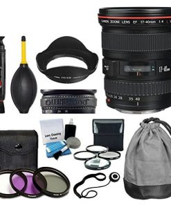 Canon EF 17-40mm f/4L USM Lens + 3 Piece UV Filter Kit 77mm + 4 Piece Macro Filter Kit + Lens Band + Lens Cleaning Pen + Dust Blower + 5 Piece Cleaning Kit + Lens Cap Holder + Deluxe Lens Value Bundle
