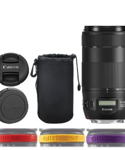 Canon EF 70-300mm f/4-5.6 IS II USM Lens + Neoprene Soft Lens Pouch 8 (Black) + Lens Band Red, Yellow, Purple Stops Zoom Creep – Deluxe Lens Accessory Bundle