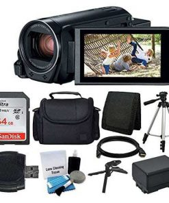 Canon VIXIA HF R800 Camcorder (Black) + 64GB Memory Card + Digital Camera/Video Case + Extra Battery BP-727 + Quality Tripod + Card Reader + Tabletop Tripod/Hand Grip + Deluxe Accessory Bundle