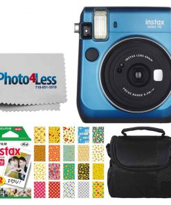 Fujifilm instax Mini 70 Instant Film Camera (Island Blue) + Fujifilm Instax Mini Twin Pack Instant Film + Small Digital Camera/Video Case + 20 Sticker Frames for Fuji Instax Prints Emoji Package