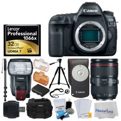 Canon EOS 5D Mark IV DSLR Camera + EF 24-105mm f/4L IS II USM Lens + Canon Speedlite 600EX II-RT + Canon RC-6 Wireless Remote Control + Lexar Professional 1066x 32GB VPG-65 Card + Deluxe Video Bundle