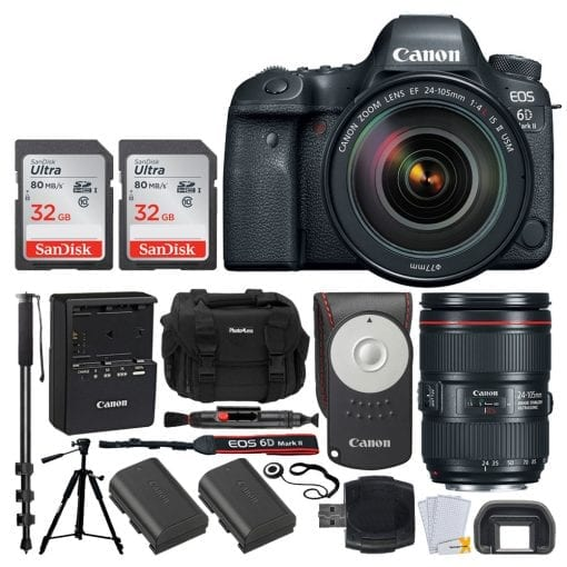 Canon EOS 6D Mark II DSLR Camera + EF 24-105mm f/4L IS II USM Lens + Canon Battery Pack LP-E6N + Canon RC-6 Wireless Remote + Vivitar DC59 Gadget Bag + 72 Monopod + Quality Tripod – Deluxe Bundle