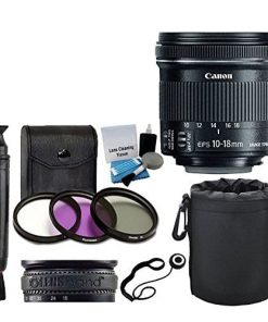 Canon EF-S 10-18mm f/4.5-5.6 IS STM Lens for DSLR Cameras + 3 Piece Filter Kit + Lens Band + Soft Lens Pouch + Lens Cleaning Pen + 5 Piece Cleaning Kit + Lens Cap Holder + Deluxe Lens Accessory Bundle