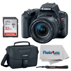 Canon EOS Rebel SL2 DSLR Camera + Canon EF-S 18-55mm f/4-5.6 IS STM Lens + Canon 100ES Shoulder Bag + 64GB Memory Card + Photo4Less Cleaning Cloth – Top Value Camera Bundle