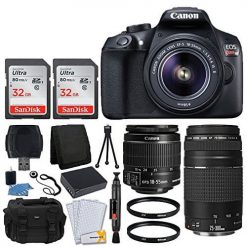 Canon EOS Rebel T6 Digital SLR Camera + Canon 18-55mm EF-S Lens & EF 75-300mm Lens + SanDisk 64GB Memory Card + 58mm UV Filters + Extra Battery + USB Card Reader + Vivitar Gadget Bag + Valued Bundle